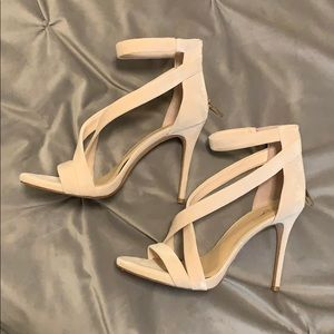 Vince Camuto size 11 nude suede strappy heels